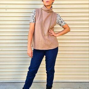 Zara camel roll neck vest. Sleeveless poloneck.
